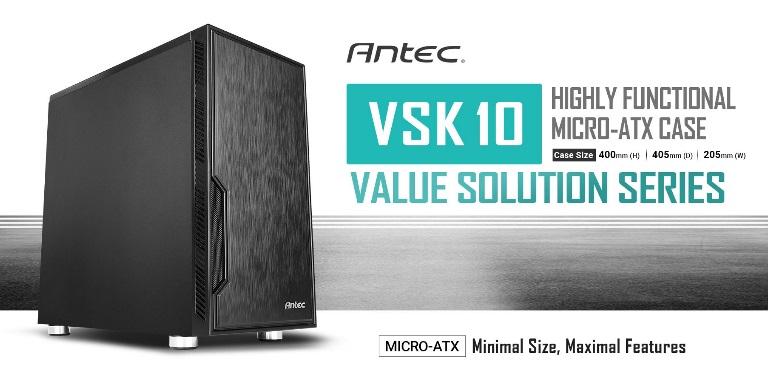Antec, VSK10, mATX, Case., 2x, USB, 3.0, Thermally, Advanced, Builder, s, Case., 1x, 120mm, Fan., Two, Years, Warranty,