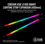 Corsair, iCUE, LS100, Smart, Lighting, Strip, Expansion, Kit, 2x, 450mm, Addressable, LED, Strip, RGB, Ext, Cable, Adhesive, Tape, Cab,