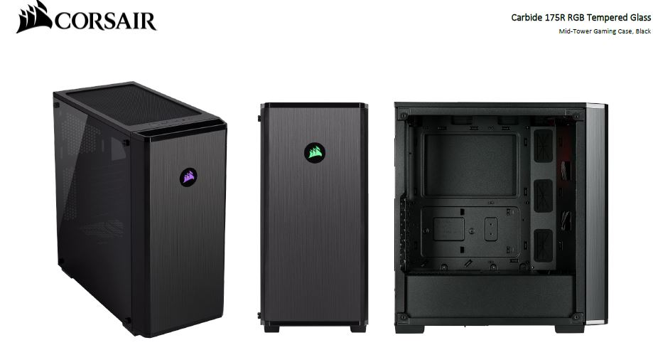 Corsair, Carbide, 175R, RGB, ATX, Tempered, Glass, Case., Two, Years, Warranty,
