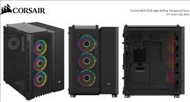 Corsair, Crystal, Series, 680X, RGB, High, Airflow, USB, 3.1, Type-C, Tempered, Glass, ATX, Smart, Dual, Chamber, Cube, Case, Black.,