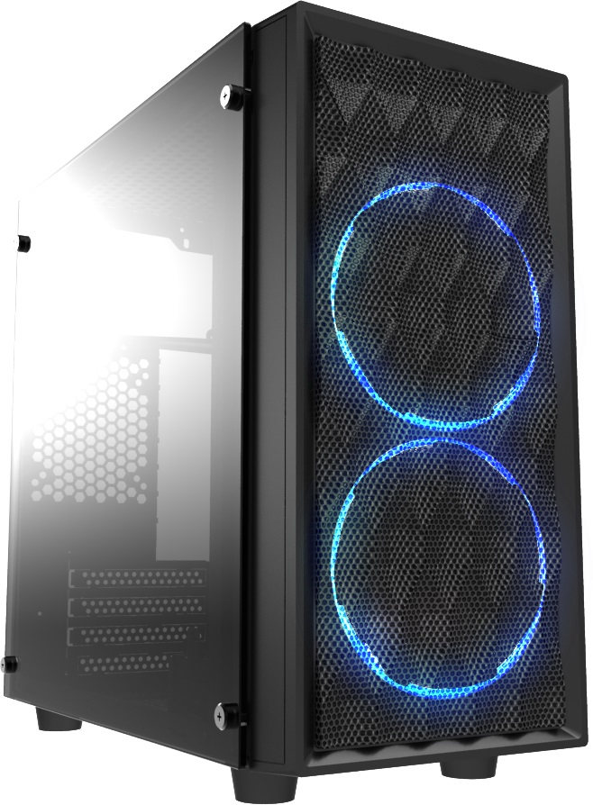 Casecom, CMC-72, Micro, ATX, Tower, Side, Transparent, Temper, glass, 2x12CM, Blue, LED, FANs, with, 550W, PSU, PCIE, 6+2, pins, Gamming,
