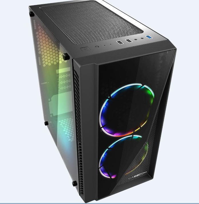 Casecom, Gamming, XM-91, Front, &, Side, Transparent, Temper, glass, Micro, ATX, with, no, PSU-has, 2x, 12CM, 18, LED, fans, 6, colours, Si,