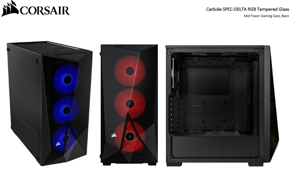 CORSAIR, Carbide, Series, SPEC-DELTA, RGB, Tempered, Glass, Mid-Tower, ATX, Gaming, Case, Black,