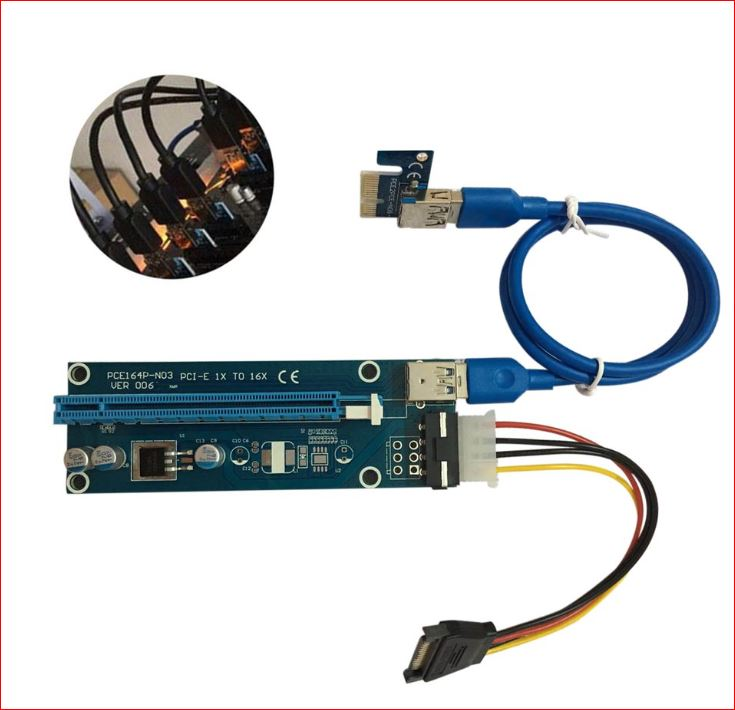 Astrotek, PCI-E, PCI, Express, 16x, Adapter, Riser, Card, Extension, Power, USB, 3.0, Internal, Cable, -, Used, for, mining, /, BTC, /, ETH, c,