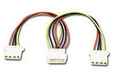 Connectland, 4, Pin, Power, Molex, Splitter, Adapter, 18cm, Cable, 1x, 5.25, Male, to, 2x, 5.25, Female, Disk,