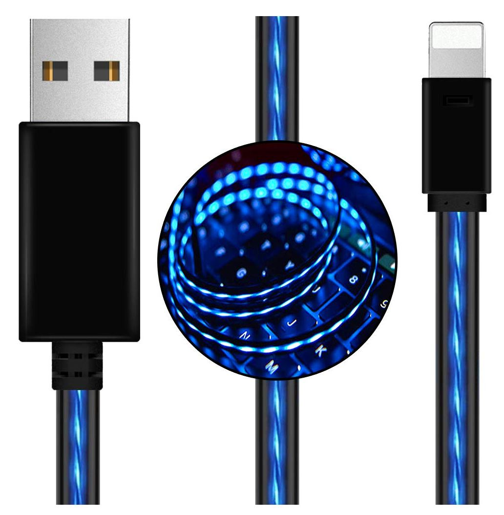 Astrotek, LED, Light, Up, Visible, Flowing, USB, Lightning, Data, Sync, Charger, Cable, Blue, Charging, Cord, for, iPhone, 5, 6, 7, 8, Plus, M,