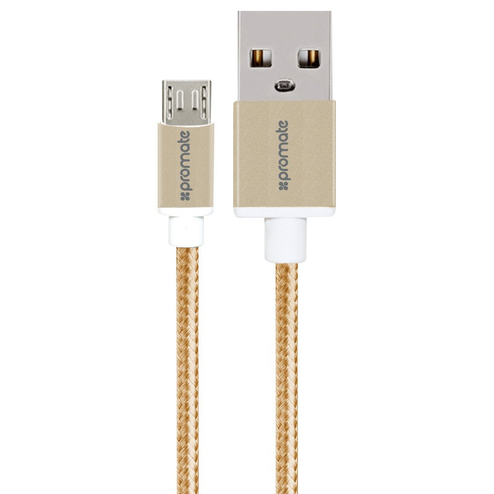 Promate, linkMate-U2M, Ultra-Durable, Mesh, Braided, Micro-USB, Sync, &, Charge, Cable, 120cm, Gold,