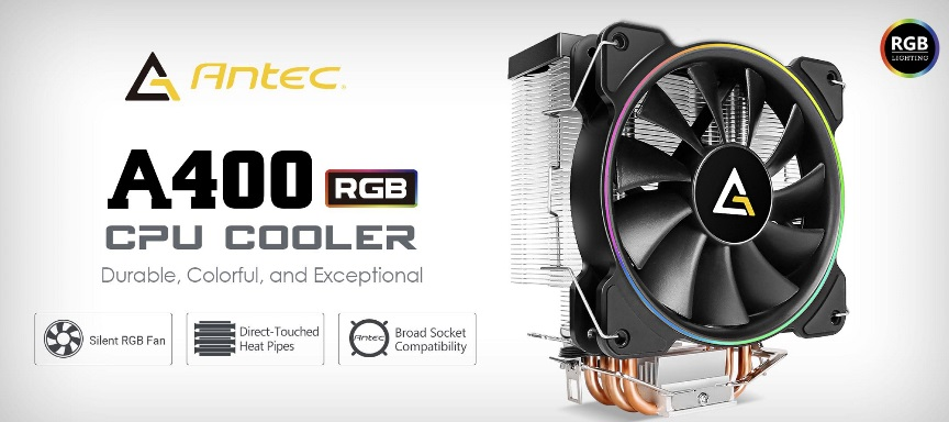 Antec, A400, RGB, CPU, Air, Cooler, Direct, Heat-Pipies, Silent, RGB, PWM, Fan, Broad, Socket, Support, Thermal, Paste, included., MTB,