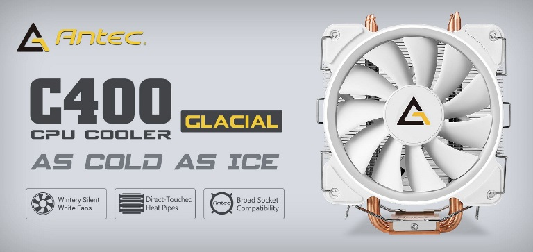 Antec, C400, GLACIAL, White, Air, CPU, Cooler, 77, CFM, 8mm, Copper, Base., 115X, 2011, 2066, AM3, AM3+, FM1, FM2, FM2+, 3, Years, Wa,