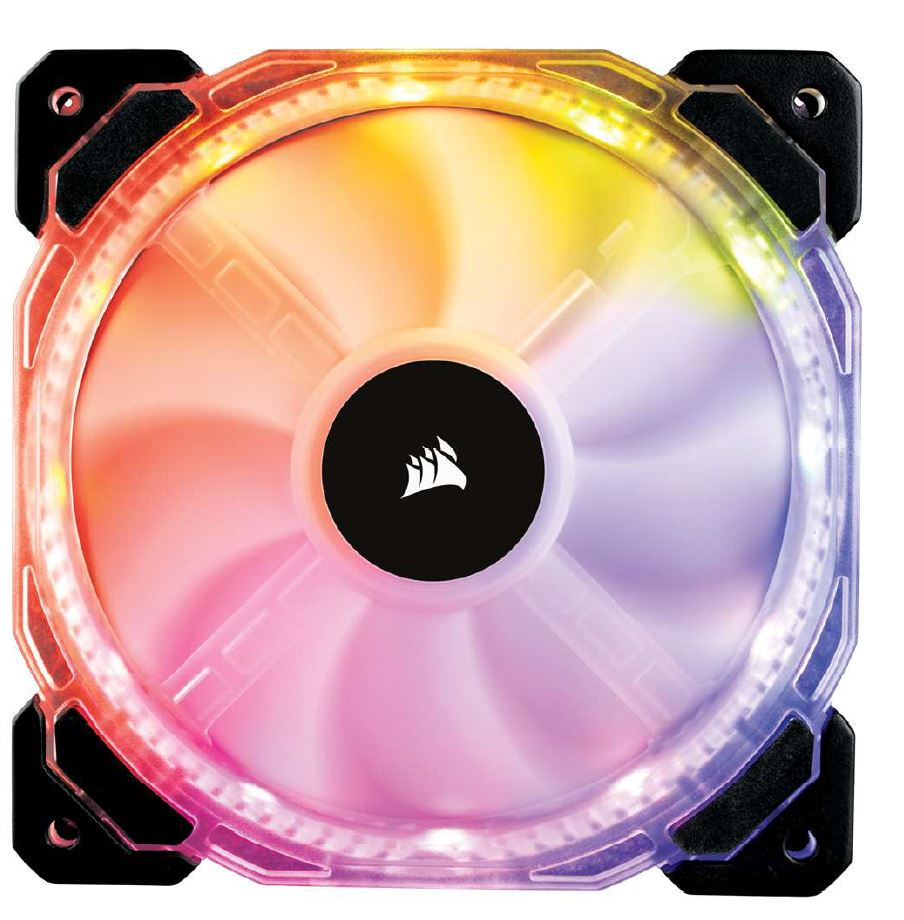Corsair, HD, 140mm, PWM, RGB, LED, Fan., 12, independent, RGB, LEDs., High, static, pressure, tuned, for, optimal, air, delivery.,