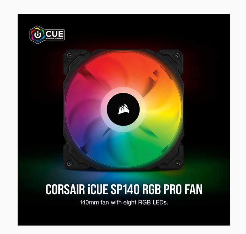 Corsair, SP, 140mm, Fan, RGB, PRO, Single, Pack,