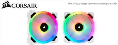 Corsair, Light, Loop, Series, White, LL120, RGB, 120mm, PWM, Fan, Single, Pack,