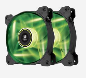 Corsair, SP, 120mm, Fan, with, Green, LED, High, Pressure., Twin, Pack!, (LS),