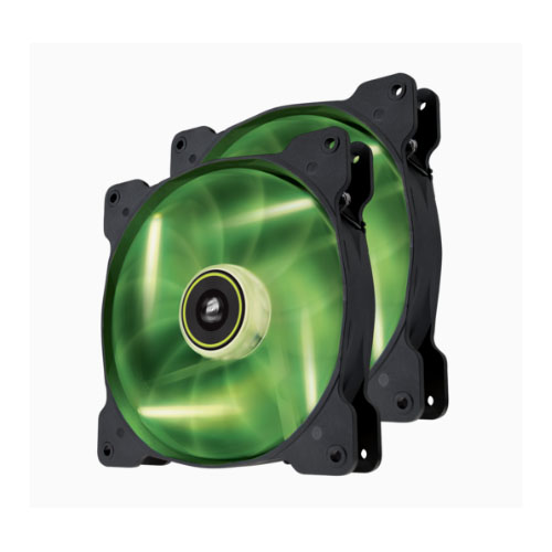 Corsair, SP, 140mm, Fan, with, Green, LED, High, Pressure, Twin, Pack!, (LS),