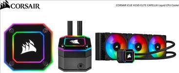 Corsair, H150i, Elite, CAPELLIX, 360mm, Black, Radiator, 3x, ML120, RGB, PWM, Fans, Ultra, Bright, RGB, Pump, Head., Liquid, Cooling, 5,