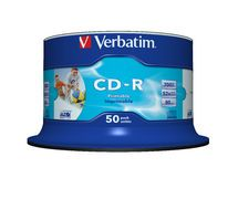Verbatim, CD-R, 80Min, 50Pk, WHT, InkJet, 52x,