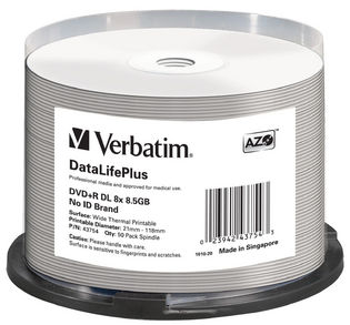 Verbatim, DVD+R, DL, 8.5GB, 50Pk, WHT, THERM, 2.4x,