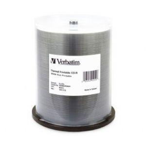 Verbatim, CD-R, 80, Min, WHT, Wide, THERM, 100, Pk, 52x,
