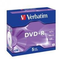 Verbatim, DVD+R, 5pk, Jewel, Case,