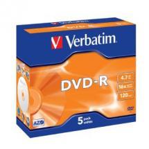 Verbatim, DVD-R, 5pk, Jewel, Case,