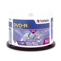 Verbatim, DVD-R, 50Pk, Spindle-4.7GB, 16x,