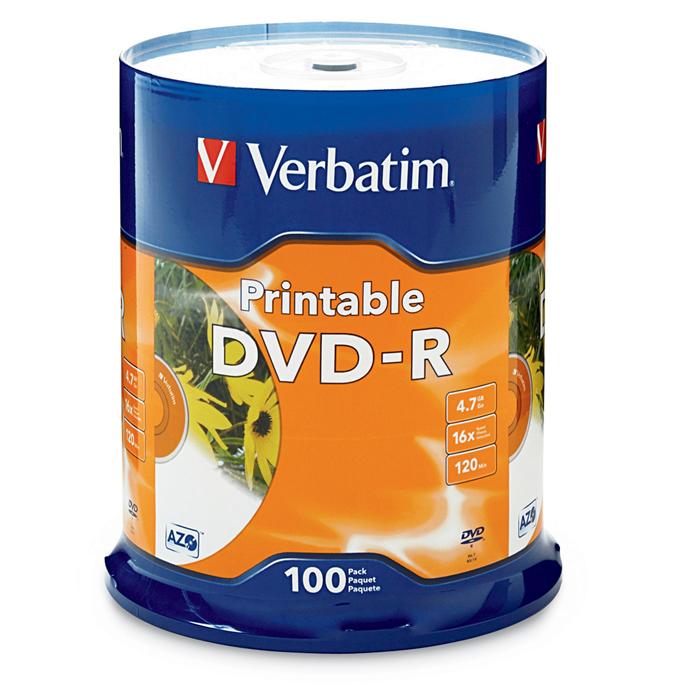 Verbatim, DVD-R, 100pk, InkJet, Printable,