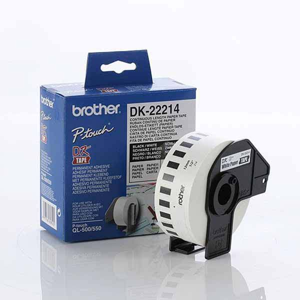 Brother, White, Paper, Roll, 12mm, x, 30.48., DK-22214., For, use, with, QL-500, QL-550, QL-650TD, and, QL-1050, printers,