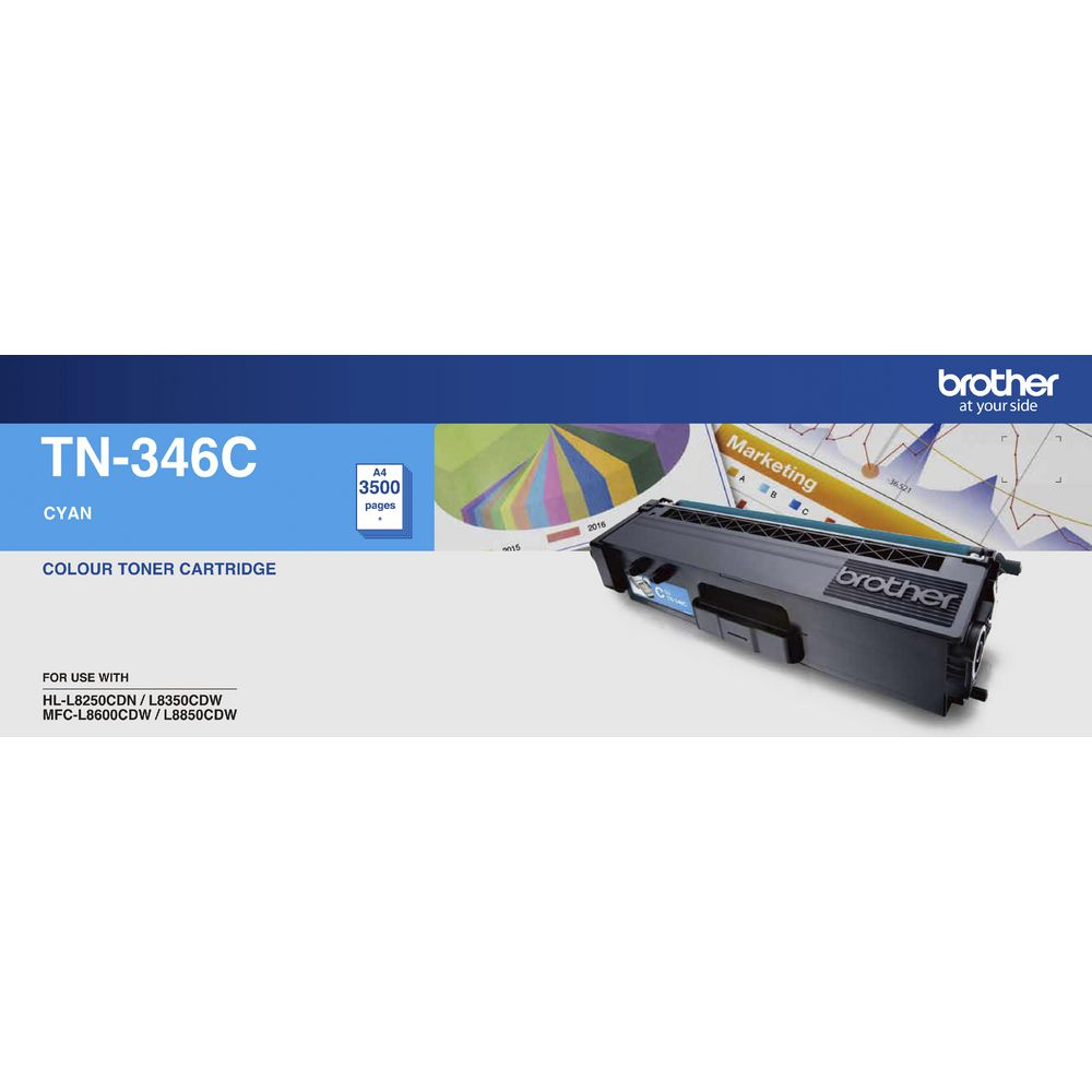 Brother, TN-346C, Colour, Laser, Toner-, High, Yield, Cyan-, HL-L8250CDN/8350CDW, MFC-L8600CDW/L8850CDW, -, 3500Pages,