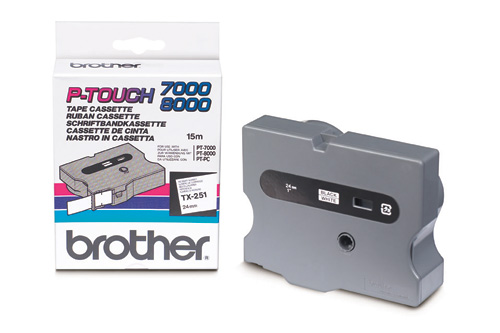 Brother, 24mm, Black, On, White, TX, Tape,
