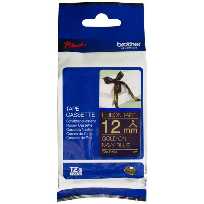 BROTHER, RIBBON, CONSUMABLE, GOLD, ON, NAVY, BLUE, 12MM, X, 4M,