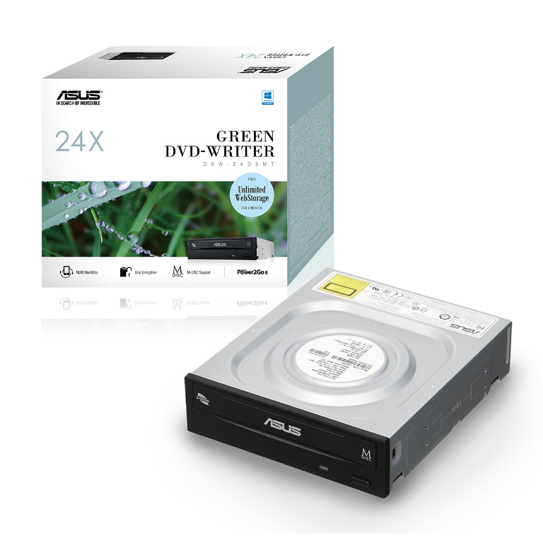 ASUS, DRW-24D5MT, Extreme, Internal, 24X, DVD, Writing, Speed, With, M-Disc, Support, (IN, RETAIL, COLOUR, BOX),