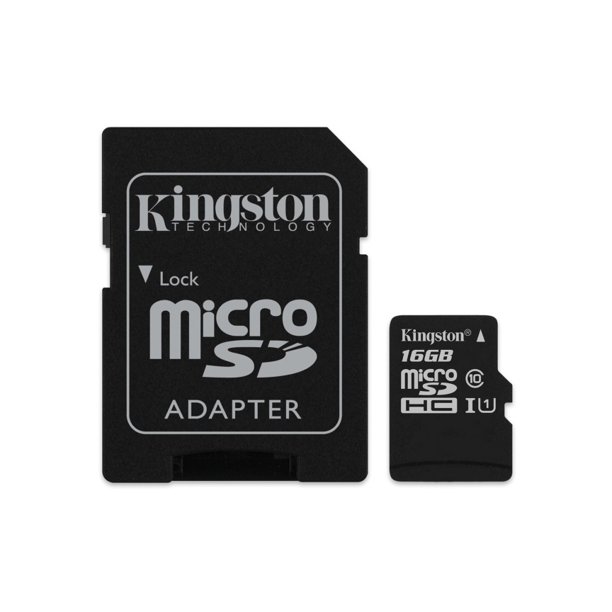 Kingston, 16GB, MicroSD, SDHC, SDXC, Class10, UHS-I, Memory, Card, 80MB/s, Read, 10MB/s, Write, with, standard, SD, adaptor, ~FMK-SDC10G2,