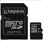 Kingston, 32GB, MicroSD, SDHC, SDXC, Class10, UHS-I, Memory, Card, 80MB/s, Read, 10MB/s, Write, with, standard, SD, adaptor, ~SDC10G2/32G,