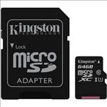 Kingston, 64GB, MicroSD, SDHC, SDXC, Class10, UHS-I, Memory, Card, 80MB/s, Read, 10MB/s, Write, with, standard, SD, adaptor, ~FMK-SDC10G2,