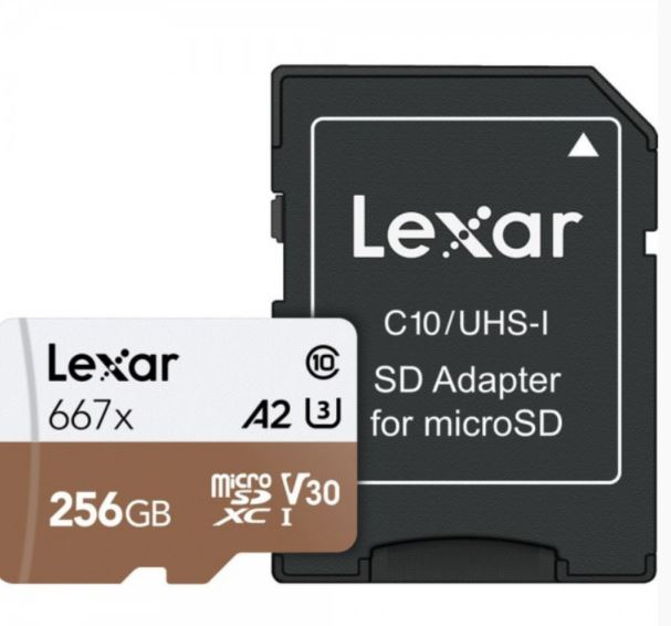 Lexar, 667X, 256GB, 100MB/s, U3, A2, Professional, microSDXC, Memory, Card, with, SD, Adapter,