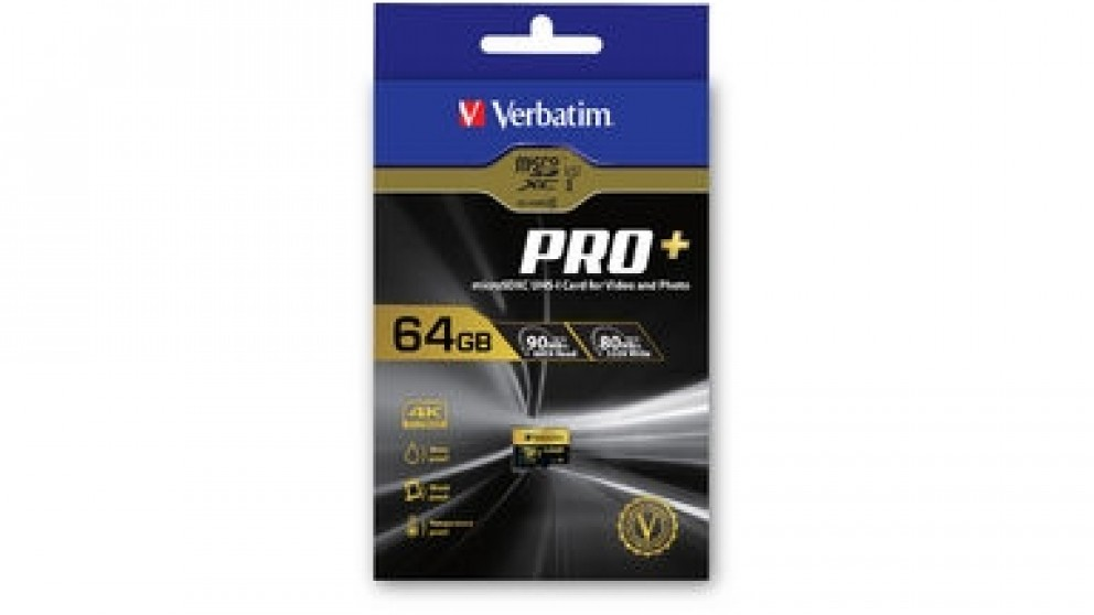 Verbatim, Pro+, 4k, Micro, SDHC, 64GB, (Class, 10, UHS-I), with, Adaptor, (LS),