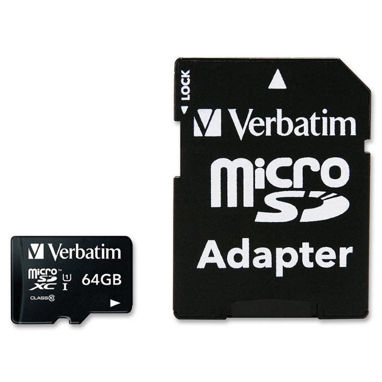 Verbatim, 64GB, Micro, SDXC, Card, Class, 10, UHS-I, With, Adaptor, Up, to, 45MB/Sec, 300X, read, speed,