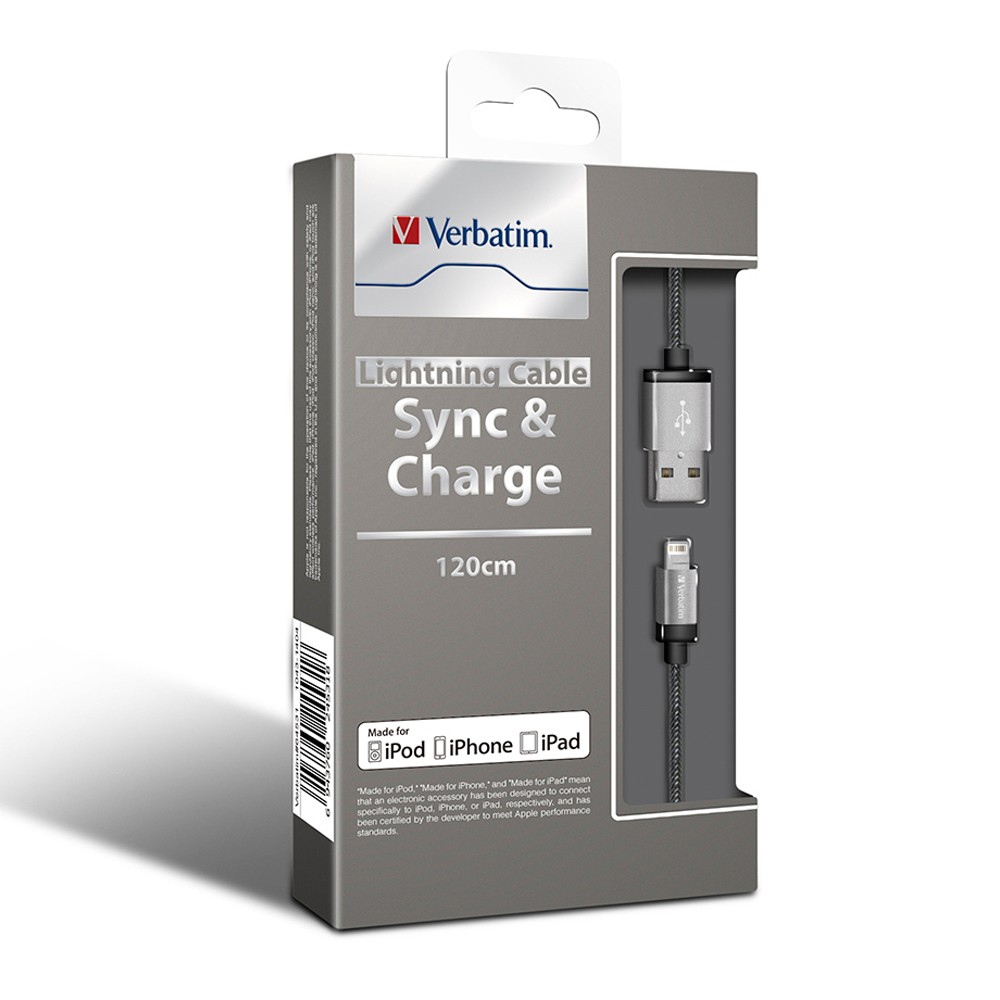 Verbatim, Metallic, Charge, &, Sync, Lightning, Cable, -, Silver, 120cm, or, 1.2M, (LS),