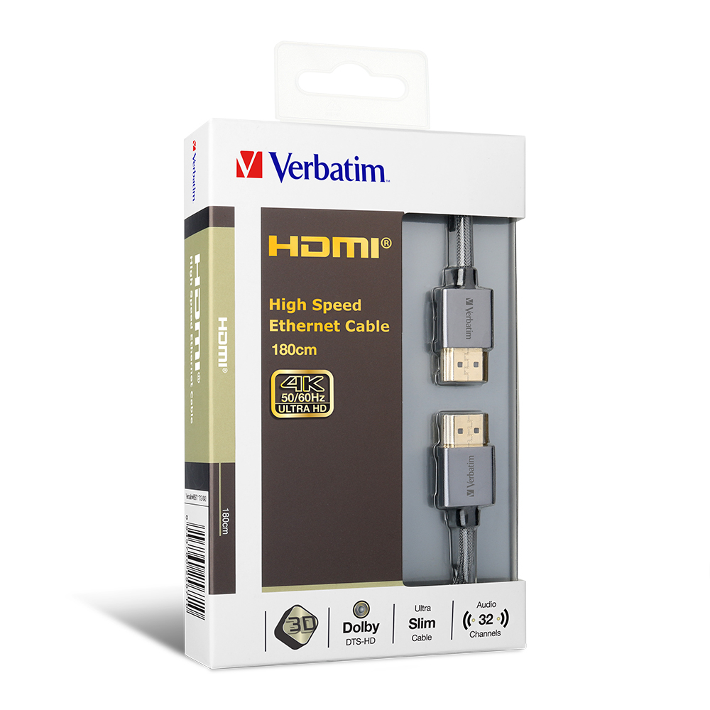 Verbatim, HDMI, Cable, with, Ethernet, V2.0, Extra, Slim, 180cm,