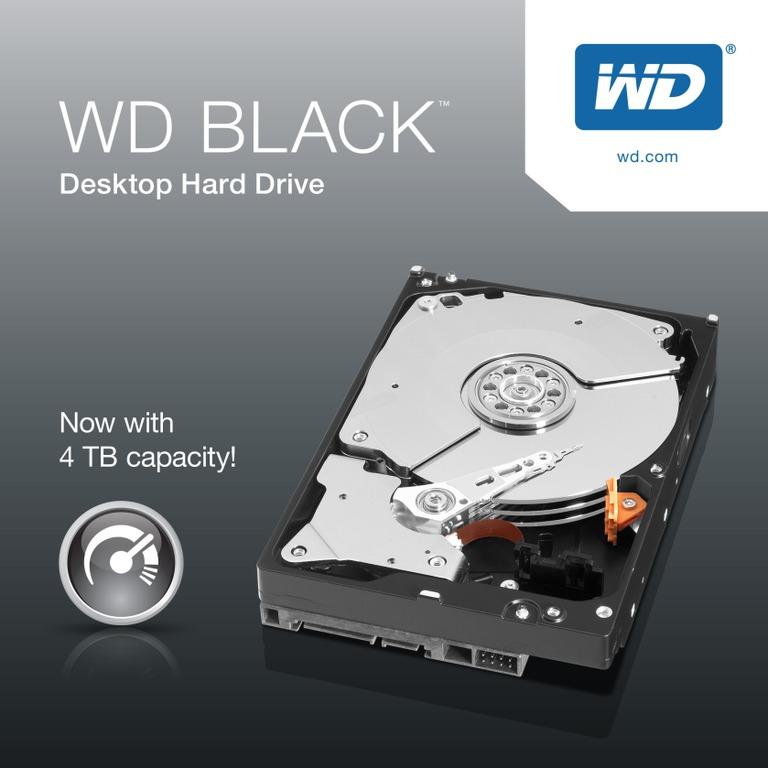 WD, Black, 4TB, SATA3, 3.5, 7200RPM, 6Gb/s, 256MB, Cache, HDD, (WD4005FZBX),