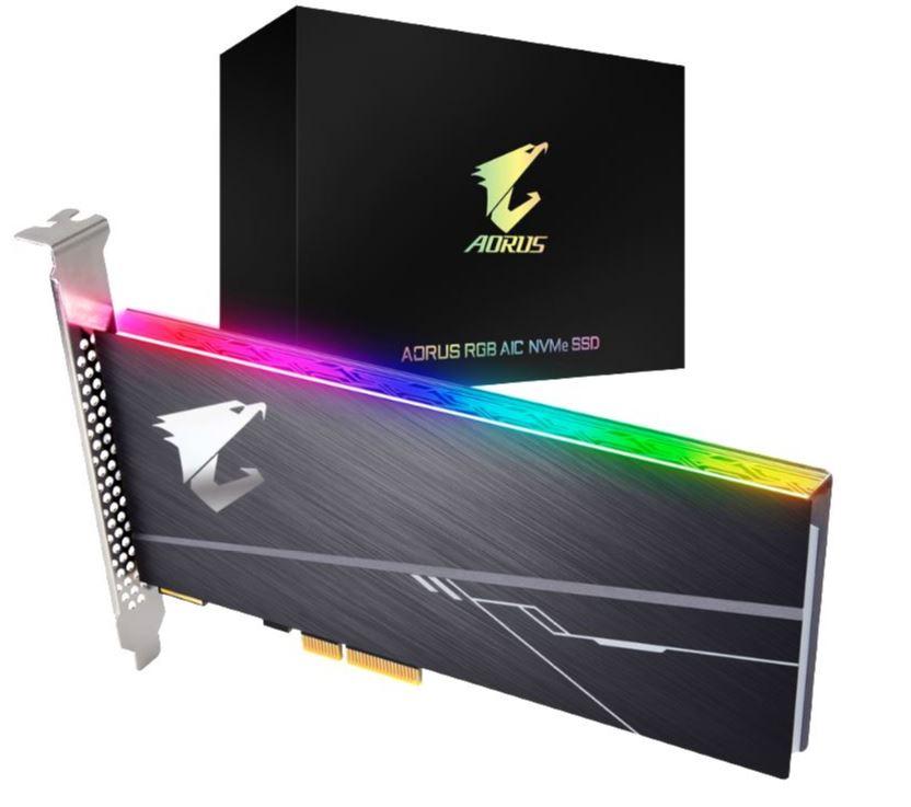 New, Gigabyte, Aorus, AIC, PCIe, NVMe, SSD, 512GB, -, 3480/2100, MB/s, 360/510K, IOPS, 3D, NAND, TLC, 1.8, Mil, MTBF, 5yrs, Wty,