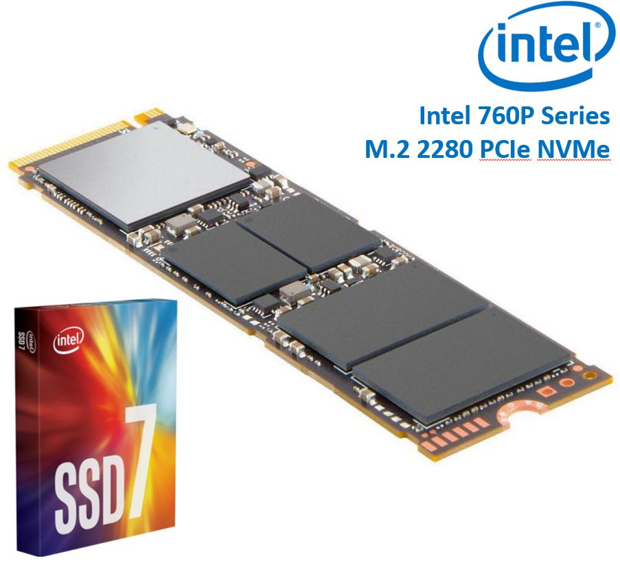 Intel, 760P, Series, M.2, 80mm, 512GB, SSD, 3D2, TLC, PCIe, NVMe, 3230/1625MB/s, 340K/275K, IOPS, 1.6, Million, Hours, MTBF, Solid, State, D,