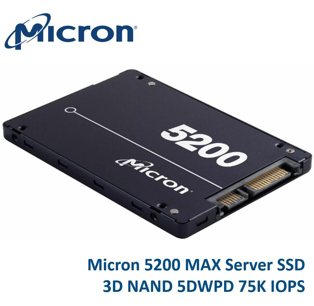 Micron, 5200, MAX, 960GB, 2.5, SATA3, 6Gbps, 7mm, Server, Data, Centre, SSD, 3D, TLC, NAND, 540R/520W, MB/s, 95K/75K, IOPS, 5DWPD, 3, Mil, hr,