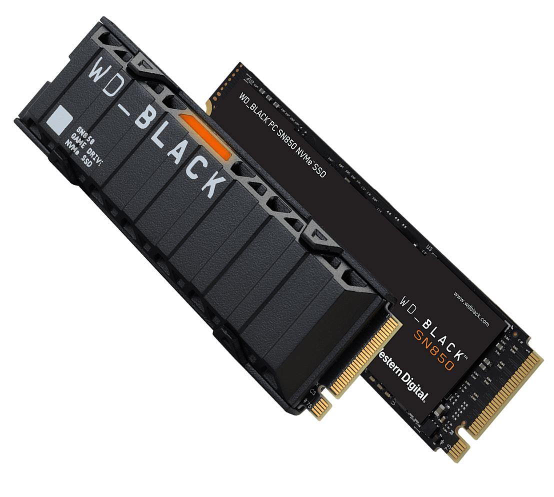 Western, Digital, WD, Black, SN850, 2TB, Gen4, NVMe, SSD, Heatsink, -, 7000MB/s, 5100MB/s, R/W, 300TBW, 1000K/710K, IOPS, 1.75M, Hrs, MTBF,