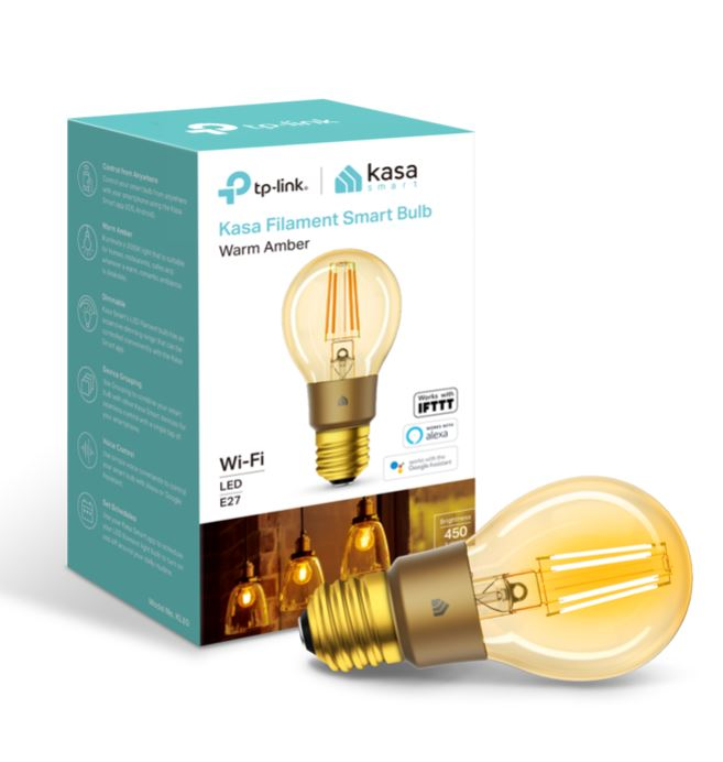 TP-Link, KL60, Kasa, Filament, Smart, Bulb, Warm, Amber, Edison, Screw, Dimmable, No, Hub, Required, Voice, Control, 2000K, 5kWh/10,