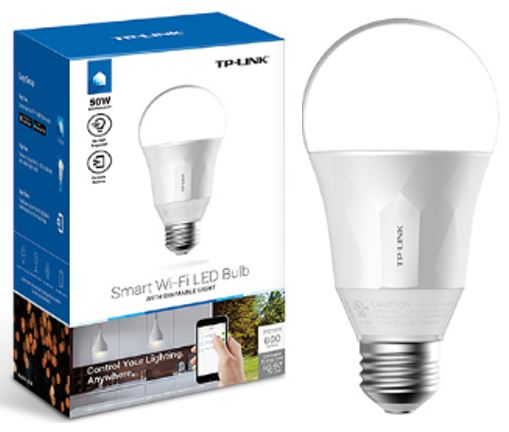 TP-Link, LB100, Smart, Wi-Fi, A19, LED, Bulb, 2700K, Dimmable, White, No, Hub, Required, 50W, Equivalent, 2.4GHz, 802.11b/g/n, TP-Li,