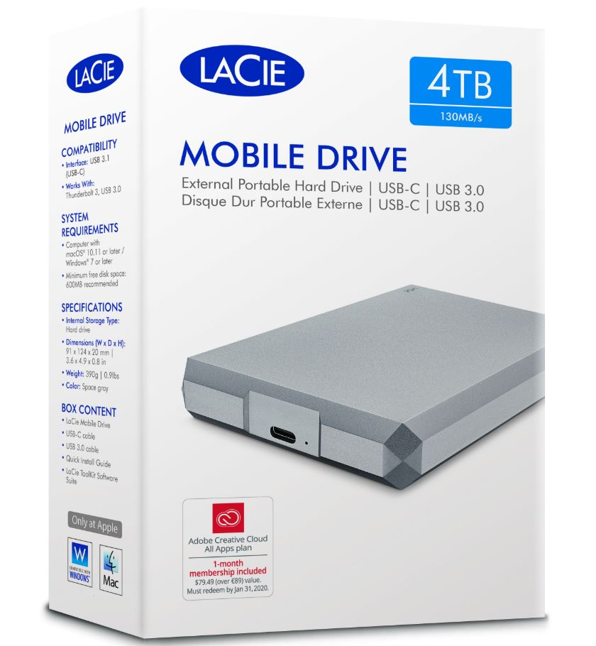Seagate, LaCie, 4TB, 2.5, USB, 3, to, USB-C, Diamond, Cut, External, HDD., STHG4000400., 2, Years, Warranty,