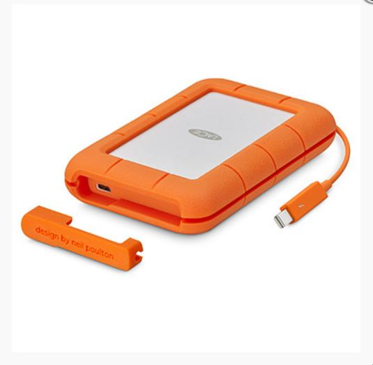 LaCie, Seagate, 4TB, Rugged, Thunderbolt, Portable, USB, 3.1, USB-C, Cable., External, HDD, STFS4000800, 3, Years, Warranty,