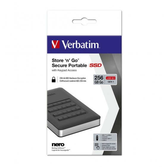 Verbatim, USB, 3.1, Store, n, Go, Secure, SSD, w/Keypad, Access, 256GB, -, Black,