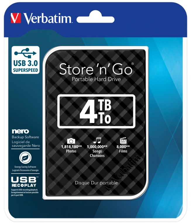 Verbatim, 4TB, 2.5, USB, 3.0, Black, Store, n, Go, HDD, Grid, Design,